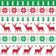 Nordic seamless pattern with deer and christmas tree — Stock Vector