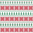 Christmas Nordic seamless pattern with men and women — Stock Vector