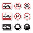 No parking, parking forbidden red and black sign — Stock Vector