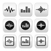 Soundwave music vector buttons set — Stock Vector