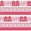 Christmas knitted seamless pattern with town houses, adn snowflakes — Stock Vector