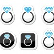 Wedding, Diamond engagement ring icon — Stock Vector #30034049