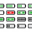 Battery charge vector icons set — Stock Vector #30040129