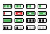 Batteria carica set di icone vettoriali — Vettoriale Stock