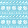 Christmas nordic seamless pattern - deer, snowflakes and trees — Stock Vector