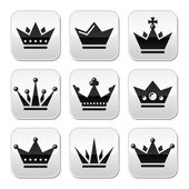 Crown, royal family buttons set — Stock Vector