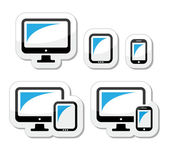 Computer, tablet, smartphone vector icons set — 图库矢量图片