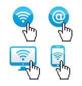 Wifi sumbol with cursor hand icons — Stock Vector