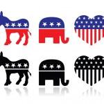 USA political parties symbols: democrats and repbublicans — Stock Vector #30145921