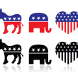 Постер, плакат: USA political parties symbols: democrats and repbublicans