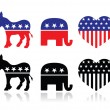 USA political parties symbols: democrats and repbublicans — Stock Vector