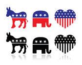 USA political parties symbols: democrats and repbublicans — Stock Vector