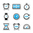 Time, clock vector icons set — Stockvektor