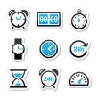 Time, clock vector icons set — Image vectorielle
