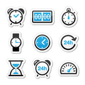 Time, clock vector icons set — Stock Vector
