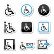 Man on wheelchair, disabled, emergency exit icons set — Stock Vector