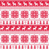 Xmas nordic seamless red pattern with deer — Stock Vector