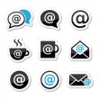 Email, internet cafe, wifi vector icons set — Stock Vector