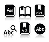 Dictionary book vector icons set — Stock Vector