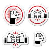 Fist, fist bump vector icons set — Stock Vector