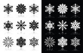Christmas or winter Snowflakes vector icons — Stock Vector