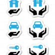 Home, car, keys with hands icons set — Stock Vector
