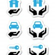 Stock Vector: Home, car, keys with hands icons set