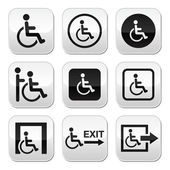 Man on wheelchair, disabled, emergency exit buttons set — Stock Vector