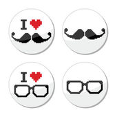 I love glasses and mustache or moustache icons set — Stock Vector