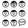 Smiley faces, avatar vector icons set — Stock Vector