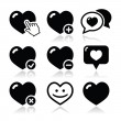 Heart, love vector icons set — Stock Vector