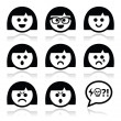 Smiley girl or woman faces, avatar vector icons set — Stock Vector