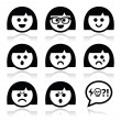 Smiley girl or woman faces, avatar vector icons set — Stock Vector #30926585