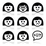 visages souriants de jeune fille ou femme, set d'icônes avatar vector — Vecteur