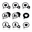 Love speech bubbles, couples vector icons set — Stock Vector