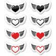 Heart with wings icons set — Stock Vector