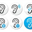 Ear hearing aid deaf problem icons set — Stock Vector