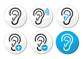 Ear hearing aid deaf problem icons set — Stockvektor