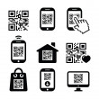 QR code on mobile or cell phone icons set — Stock Vector #31445667