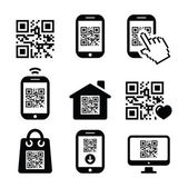 QR code on mobile or cell phone icons set — Stock Vector