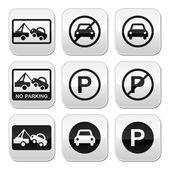 Geen parkeergelegenheid, auto's knoppen set — Stockvector