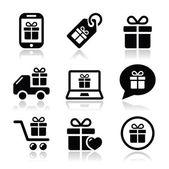 Present, shopping vector icons set — Stock Vector