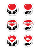 Hands with red heart, love, relationship icons set — Stock Vector