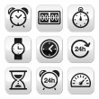 Time, clock vector buttons set — Vettoriali Stock