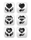 Hands with heart, love, relationship buttons set — Stock Vector