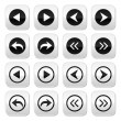 Previous, next arrows vector buttons set — Vettoriali Stock