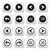 Previous, next arrows vector buttons set — Stok Vektör