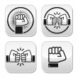 Fist, fist bump vector buttons set — Stock Vector