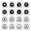 Drop down menu round buttons set — Stock Vector