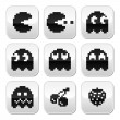 Pacman, ghosts, 8bit retro game buttons set — Stock Vector